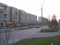 Lenina street. Buildings from left to right: 53, 57, 61.