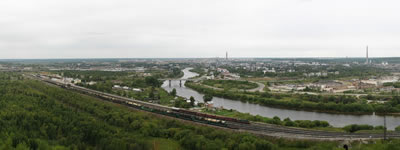 A view from Vetlosyan settlement. Railroad station, Ukhta in the distance, `LUKOIL' petroleum refinery.