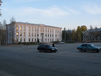Building of pension fund in the Pervomayskaya square.